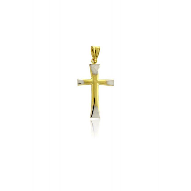 Colgante Cruz Oro 18k bicolor