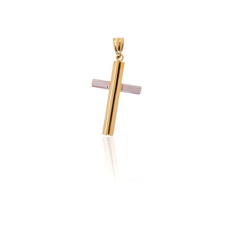 Colgante Oro 18k cruz bicolor