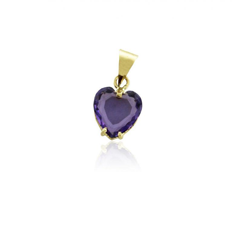 Colgante Oro 18 kts corazón piedra Roselin