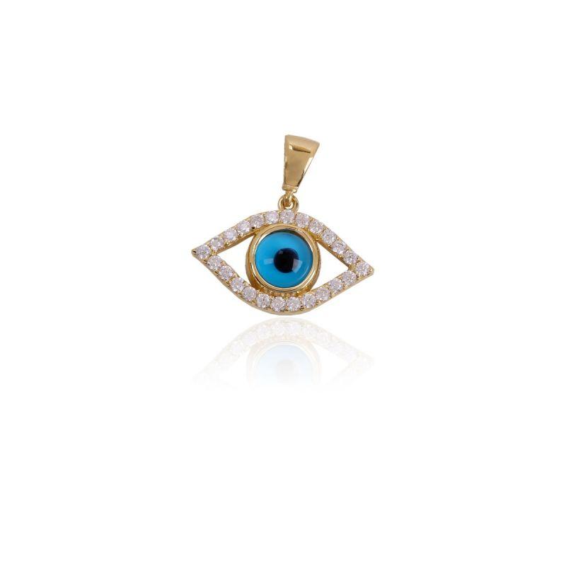 Colgante Oro 18k ojo turco circonitas