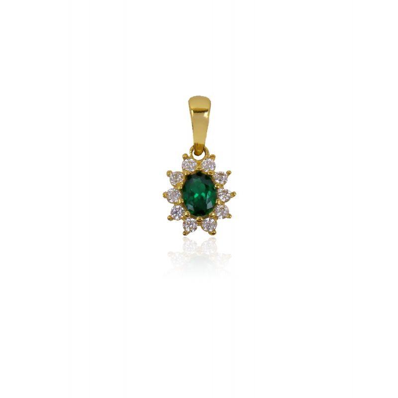 Colgante Oro 18k con piedra verde oval
