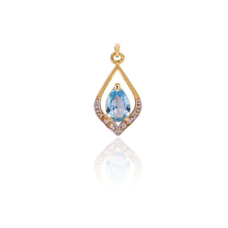Colgante Oro 18k Piedras Bicolor Azul