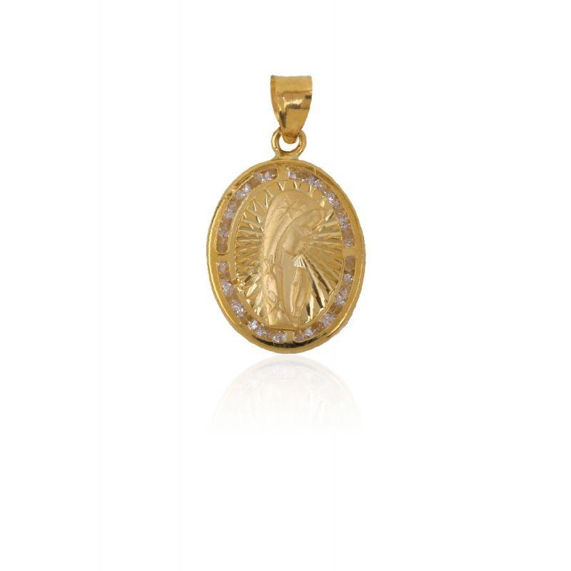 Colgante Oro 9k Virgen niña ovalado