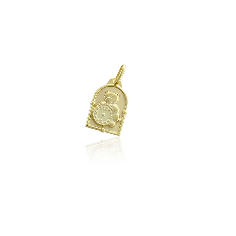 Colgante Oro 9k medalla reloj oso Roselin