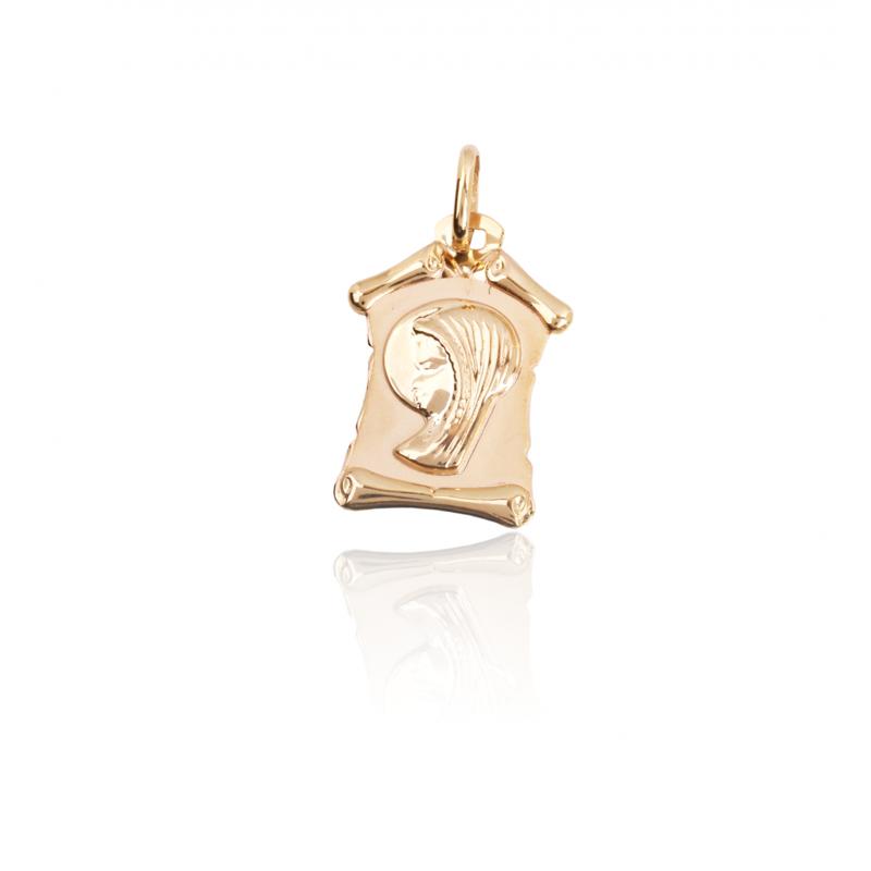 Colgante medalla Virgen Niña Oro 9k