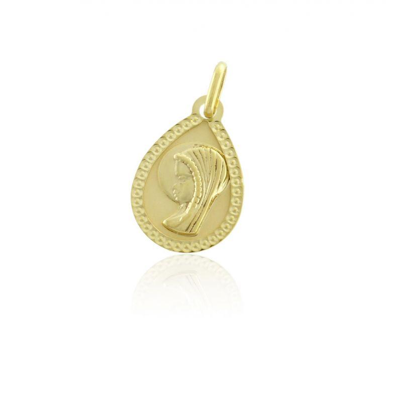 Colgante Oro 9k medalla virgen Roselin