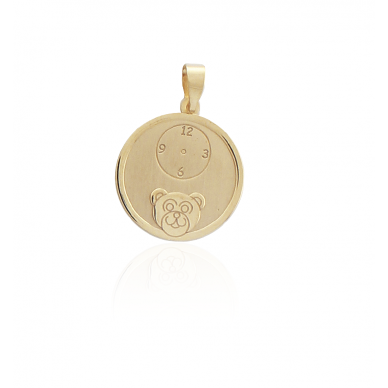 Colgante Medalla Oso Reloj Oro 9k