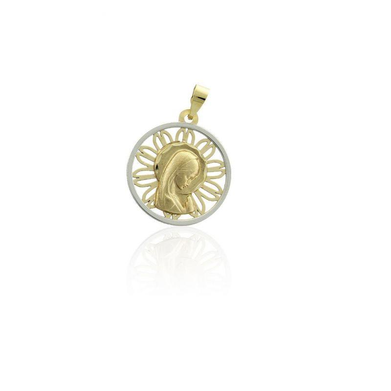 Colgante Oro 9k medalla flor virgen