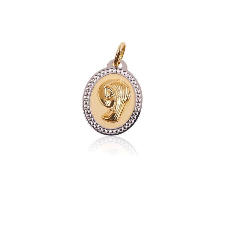 Colgante Oro 9k medalla virgen bicolor