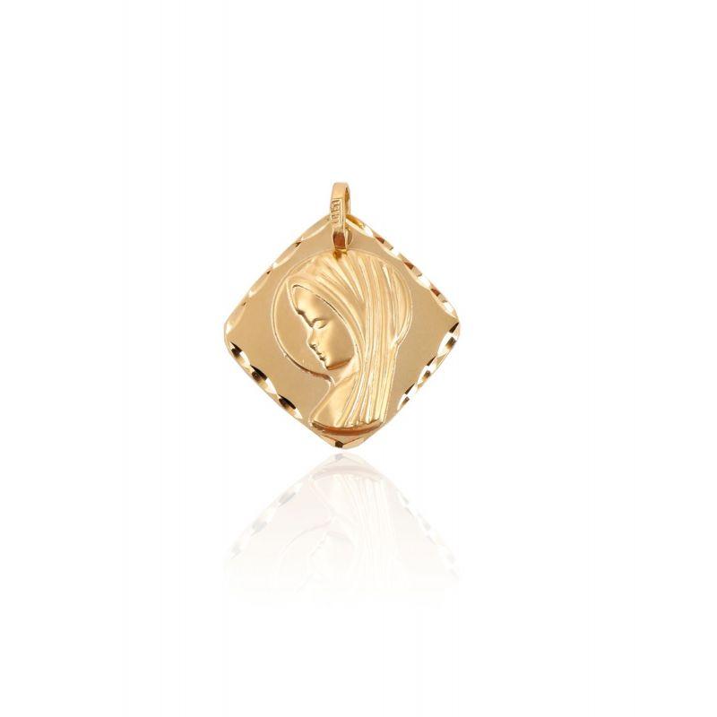 Medalla Oro 9kt Virgen niña Rombo