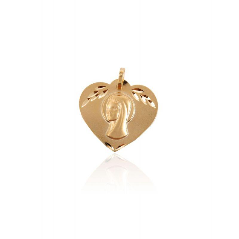 Medalla Oro 9kt Virgen niña corazón matizado
