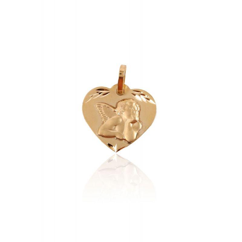 Medalla Oro 9kt Angelito corazón matizado