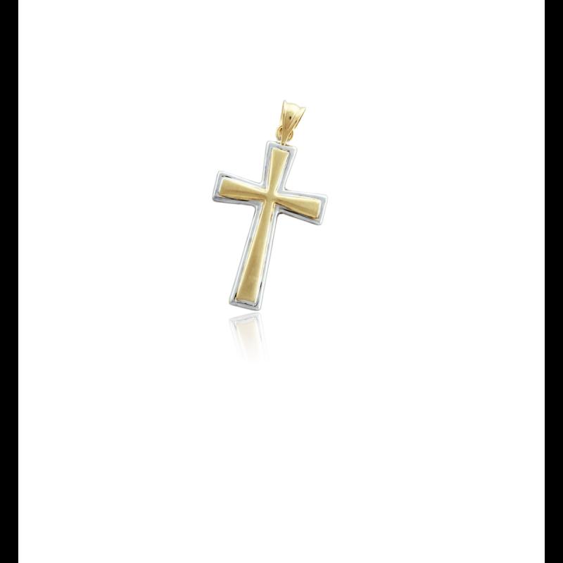 Cruz bicolor lisa oro 9k