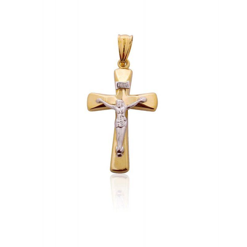 Cruz Oro 9k bicolor con cristo liso
