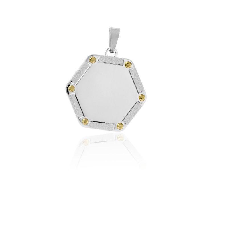 Colgante chapa acero y oro hexagonal