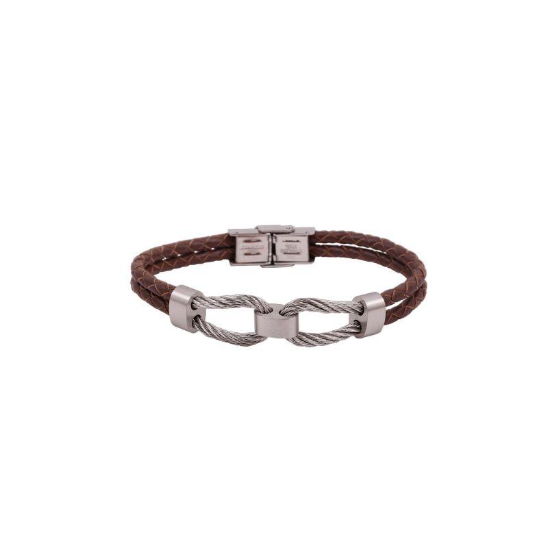 Pulsera cable enlace acero y cuero Rs Roslain Sport