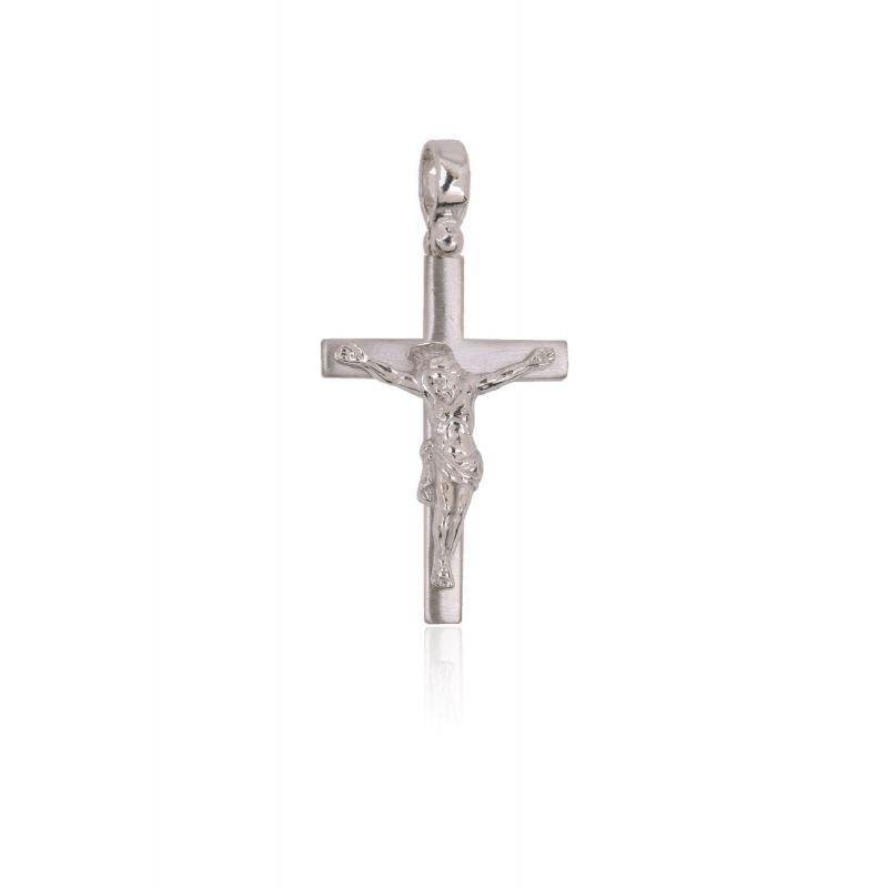 Cruz Plata de Ley Cristo en relieve