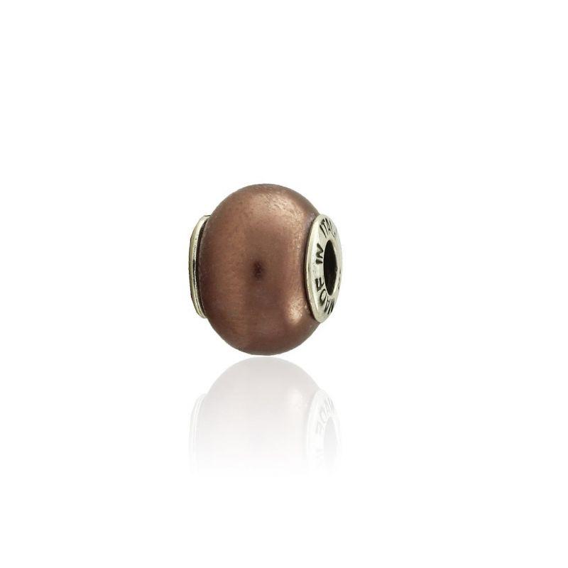 Abalorio plata marrón