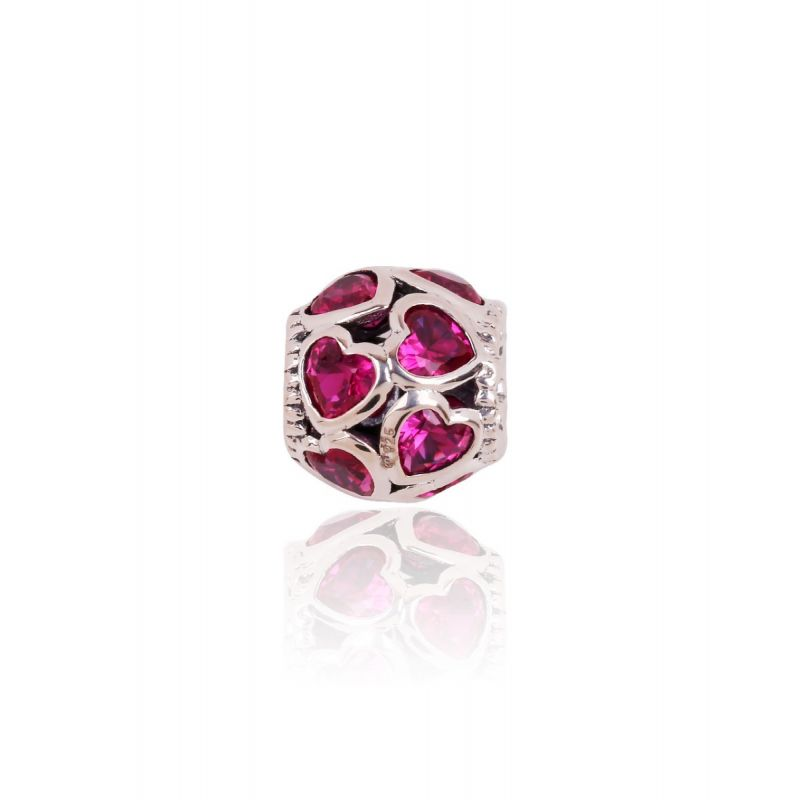 Abalorio plata corazones rosas