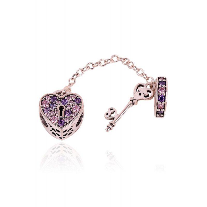 Abalorio plata cadena corazón llave