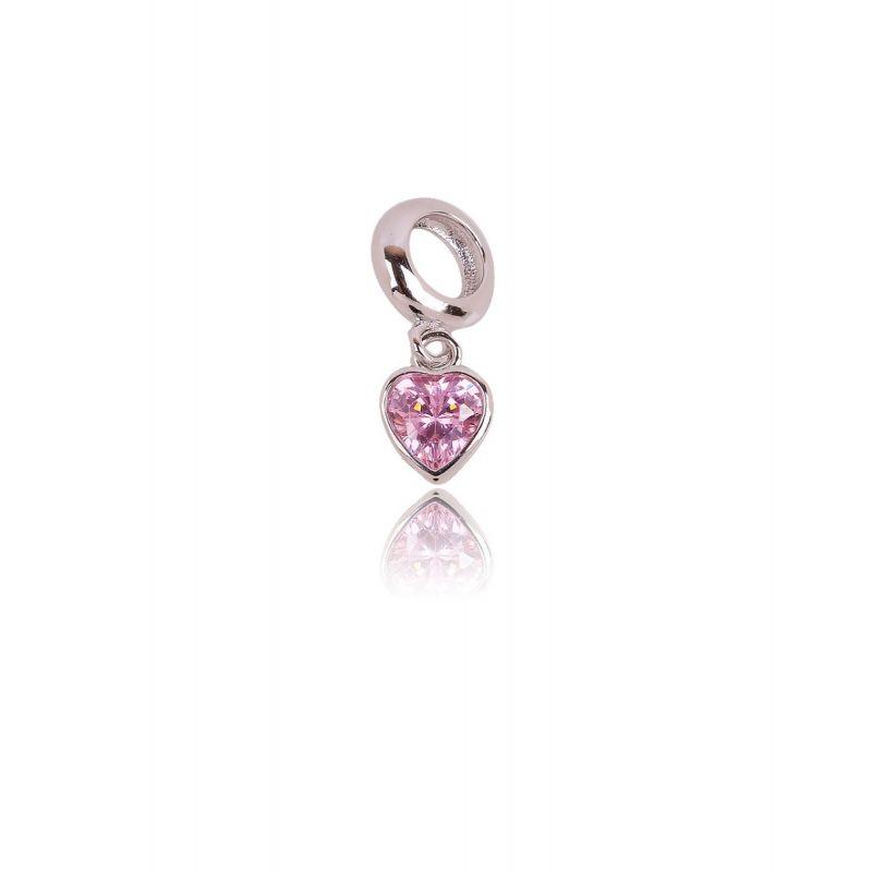 Abalorio plata corazón rosa
