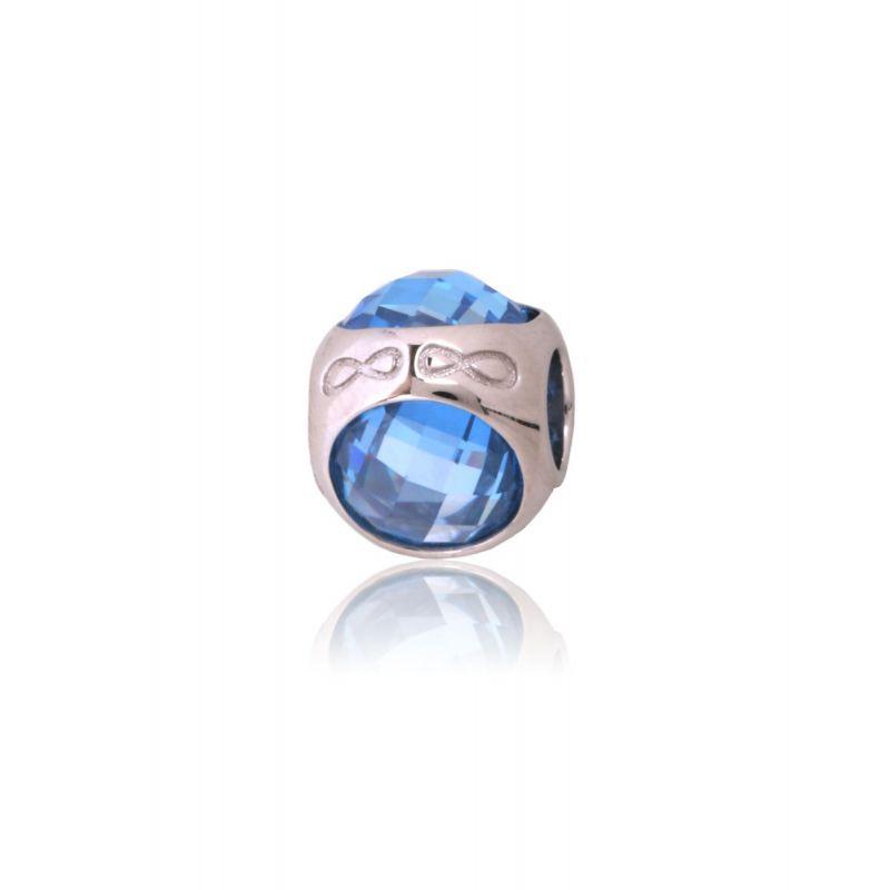 Abalorio plata azul infinitos