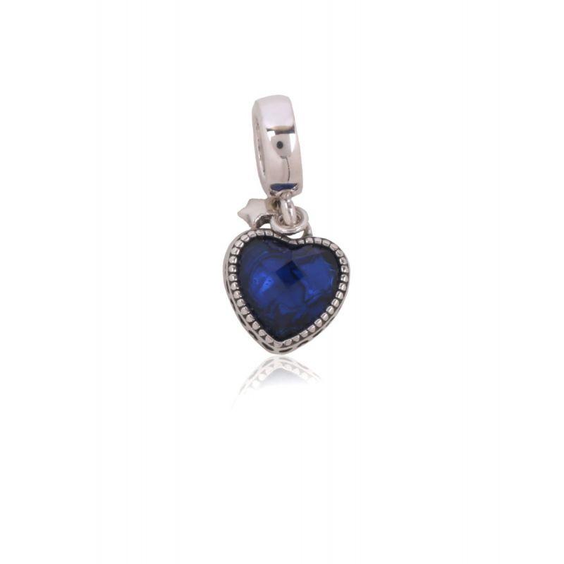 Abalorio plata corazón azul