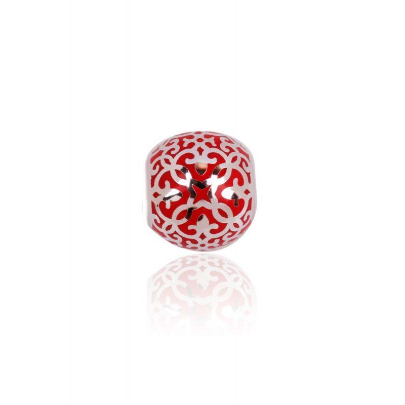 Abalorio plata mosaico rojo