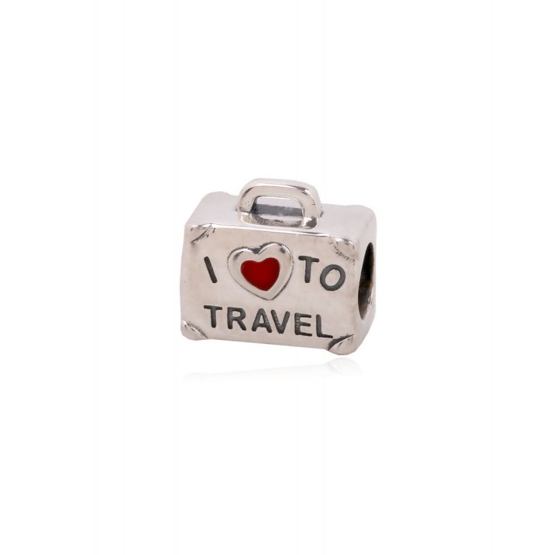 Abalorio plata maleta 'I love to travel'