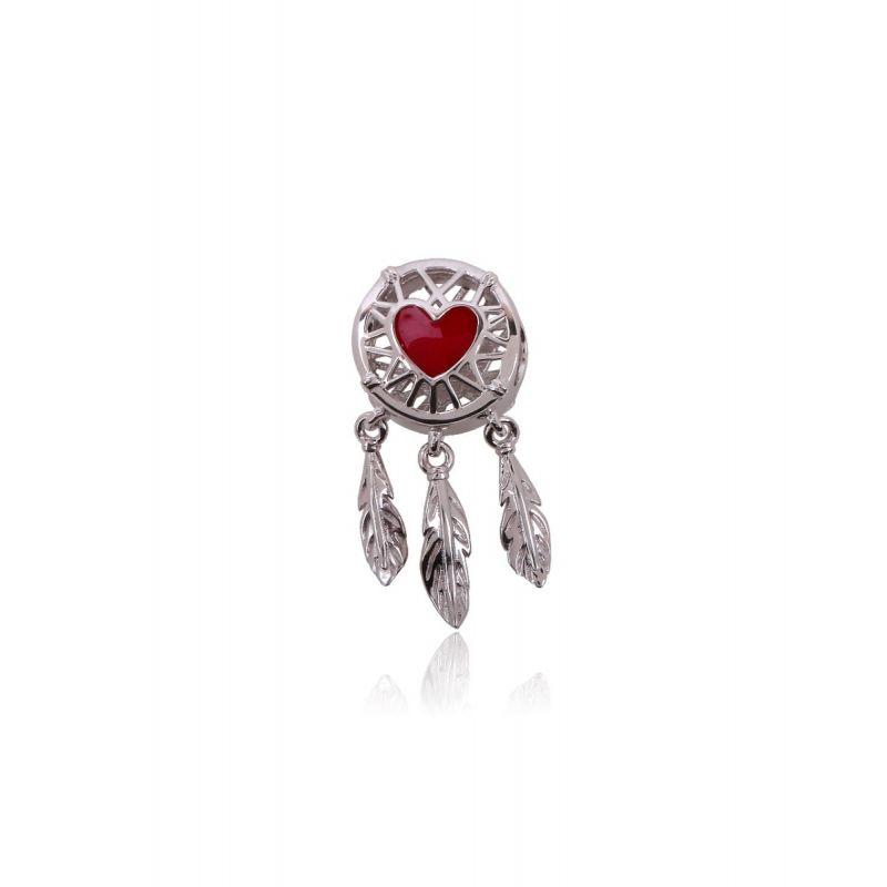 Abalorio plata atrapasueños corazon