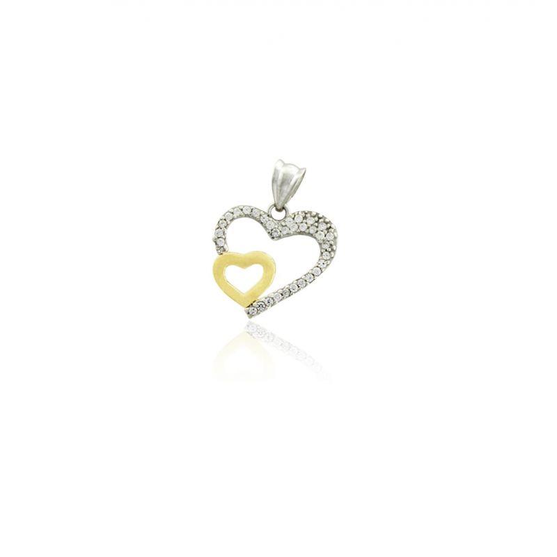 Colgante Oro y Plata corazón circonitas Roselin