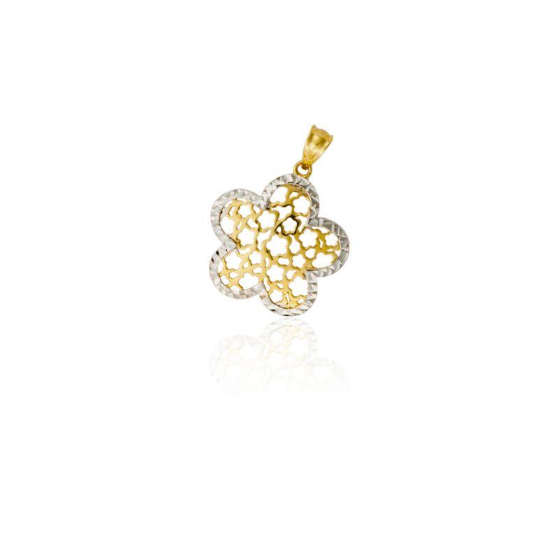 Colgante Oro 18 kts y plata flor Roselin