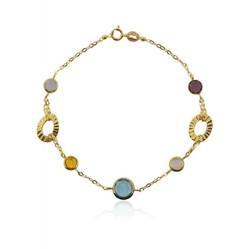 Pulsera Oro ley 9k ovales piedras color
