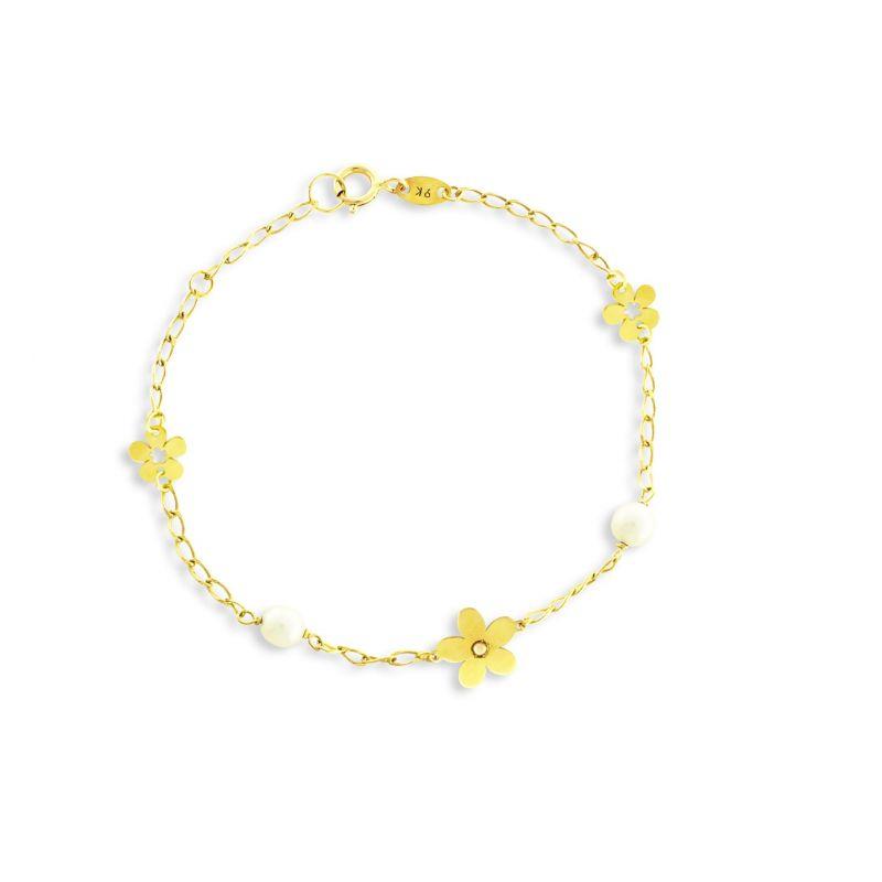 Pulsera niña Oro9 flor Roselin