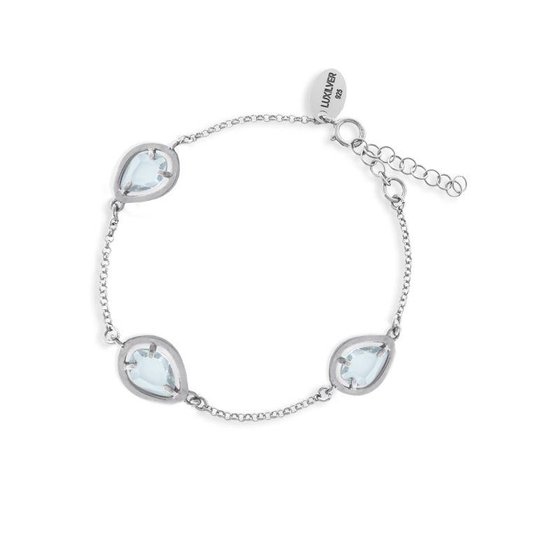 Pulsera plata piedra azul Luxilver