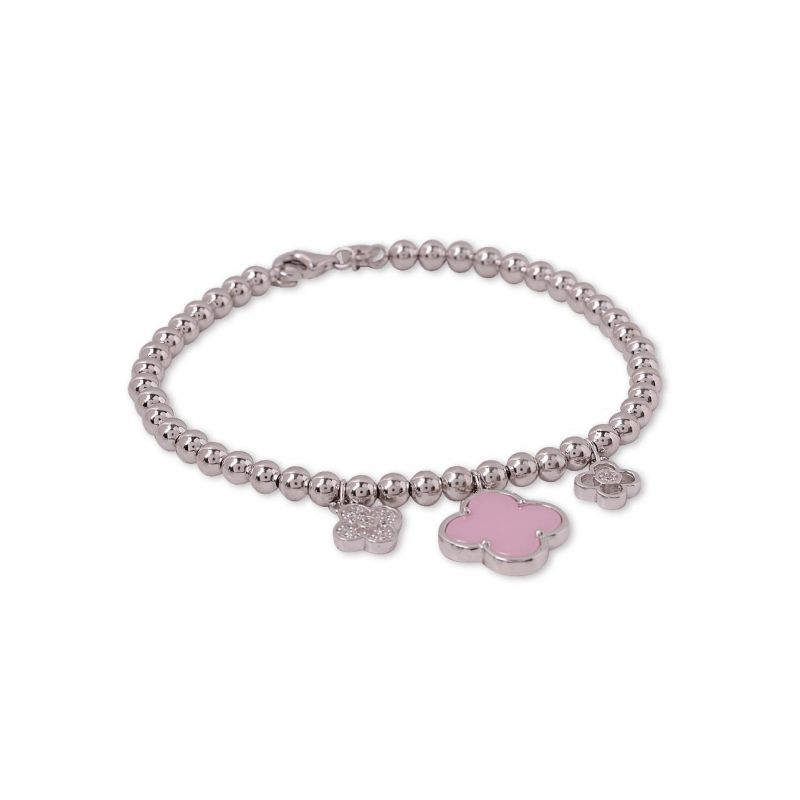 Pulsera plata trébol rosa
