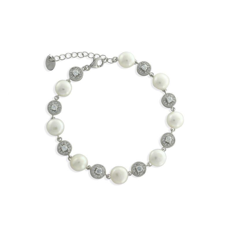 Pulsera plata perlas y circonitas Luxilver