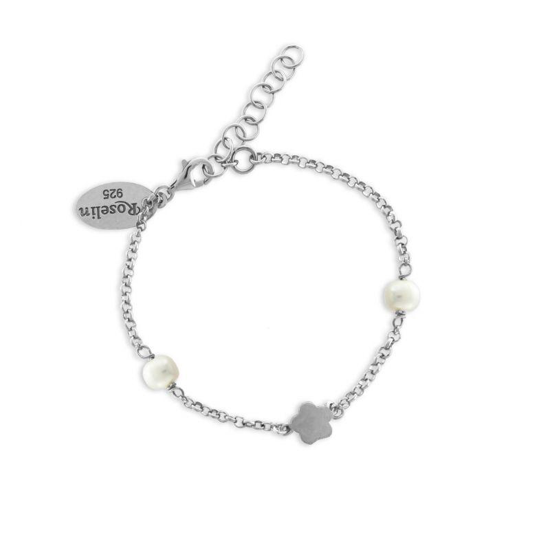 Pulsera niña plata y perlas