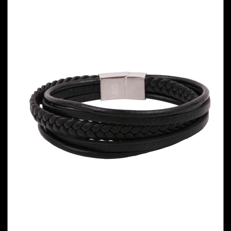 Pulsera RS cuero trenzado negro