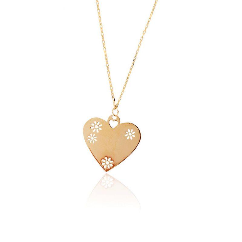 Gargantilla Oro 18k corazón margaritas