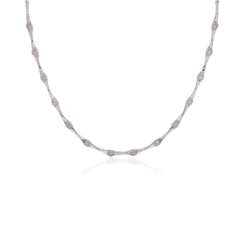 Gargantilla Oro Blanco 18k Piedras Círculos