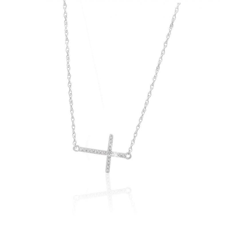 Gargantilla Oro blanco 18kts y diamantes cruz