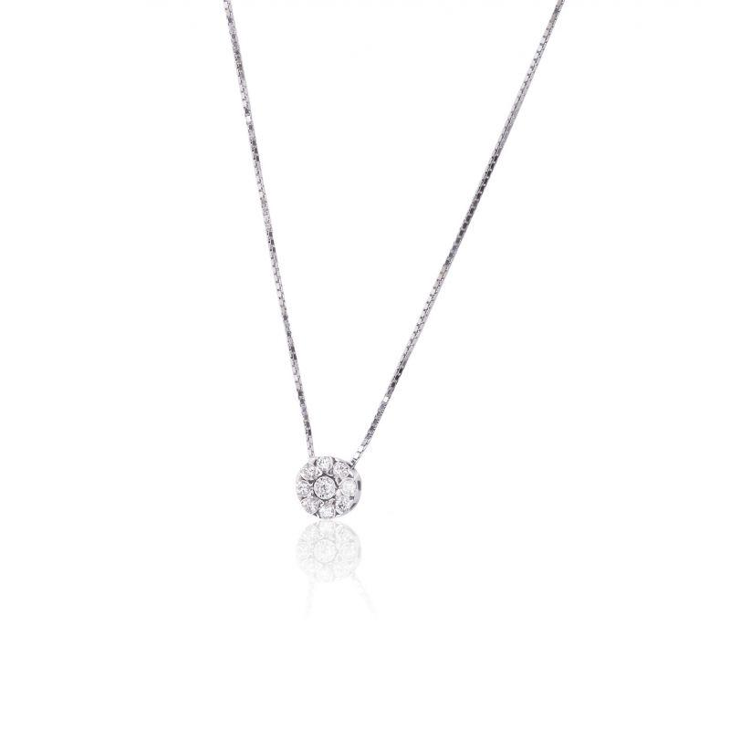 Gargantilla Oro blanco 18k y diamantes roseta