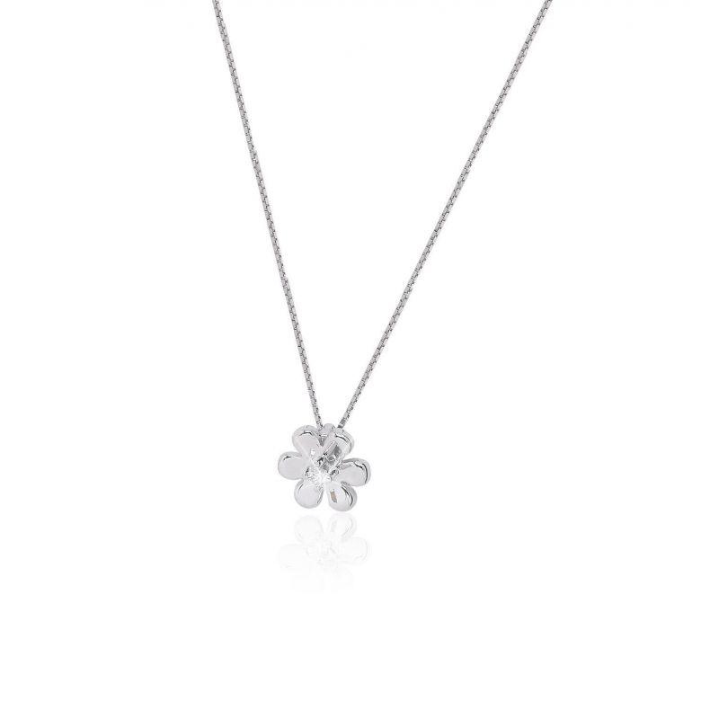 Gargantilla Oro blanco 18k y diamante flor