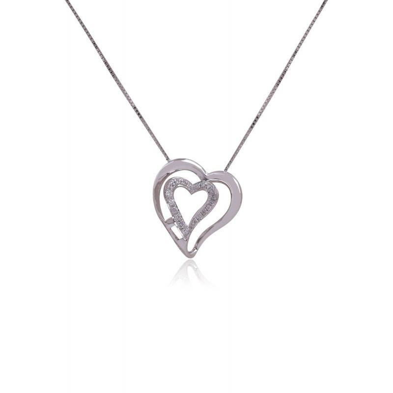 Gargantilla Oro blanco 9k Corazón con Diamante