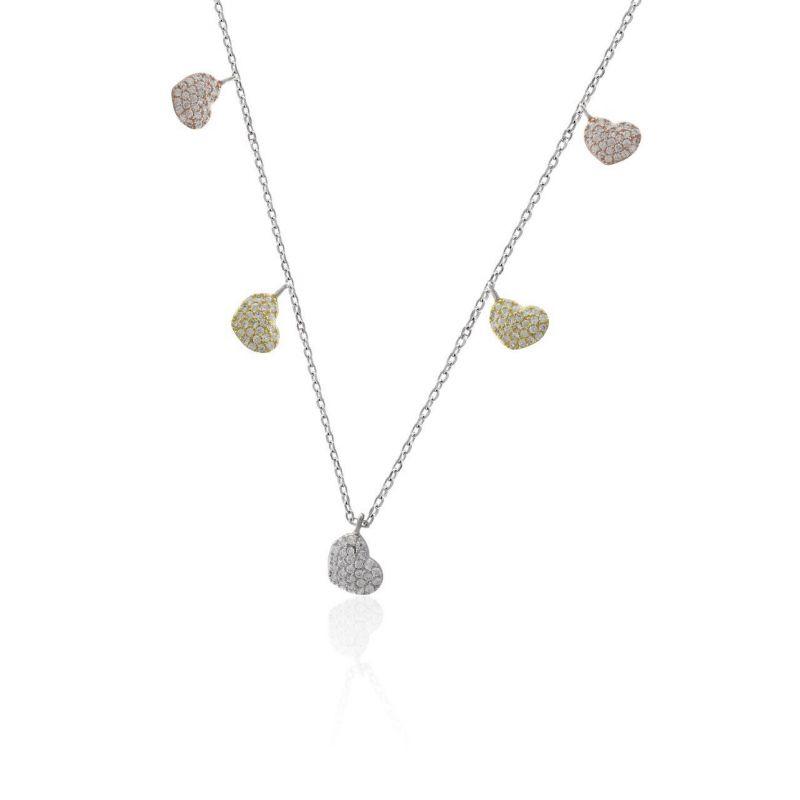 Gargantilla plata corazones color Roselin