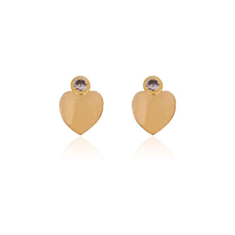 Pendientes de Oro 18k corazón circonitas