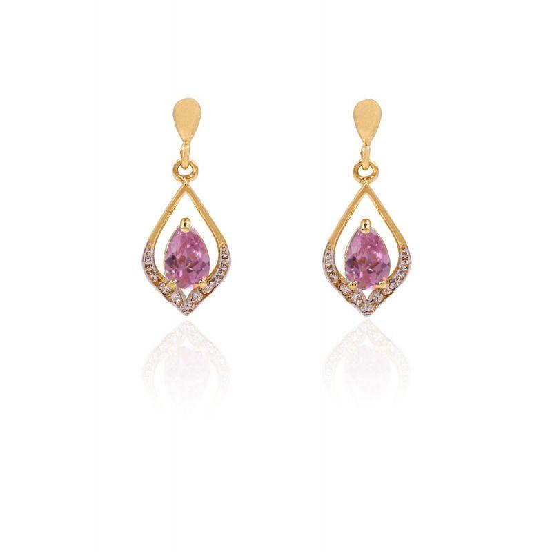 Pendientes Oro 18k Piedras Bicolor Rosa