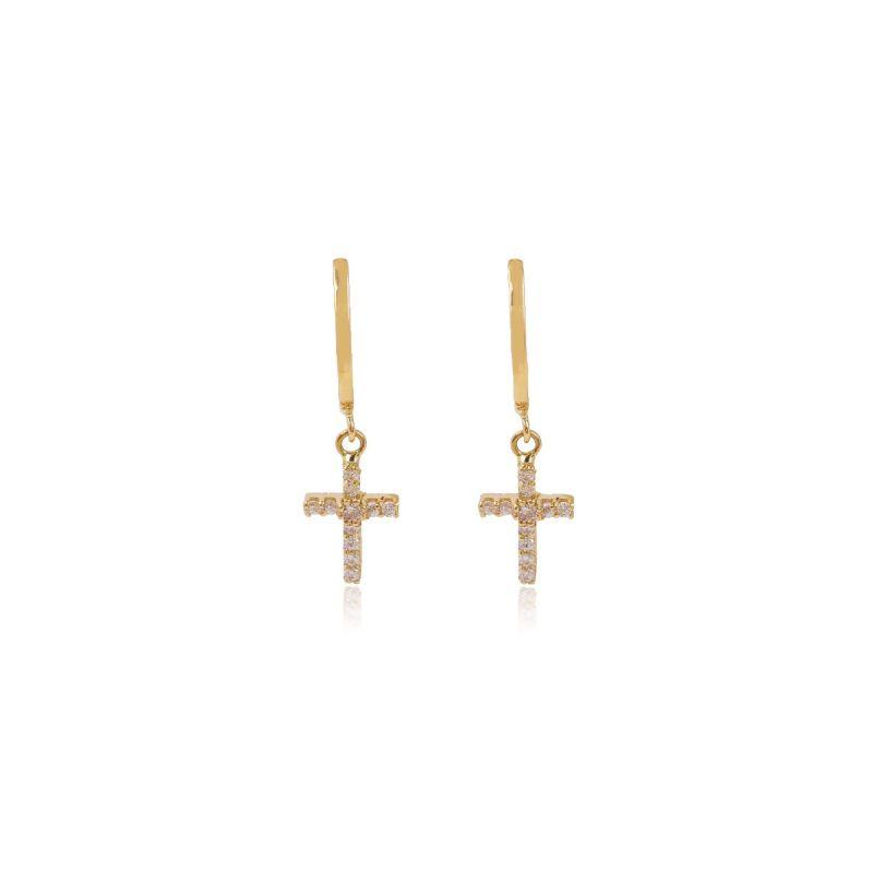 Pendientes Oro 18k cruz circonitas