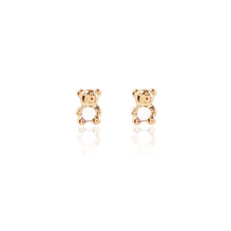Pendientes Oro 18k oso bicolor